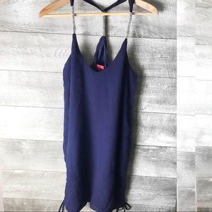 Tigerlily 100% silk Navy blue jewel neck dress